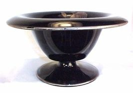 Westmoreland Black Glass - Footed Whipped Cream Mayo. Bowl - Silver Octavia Rose - $29.59