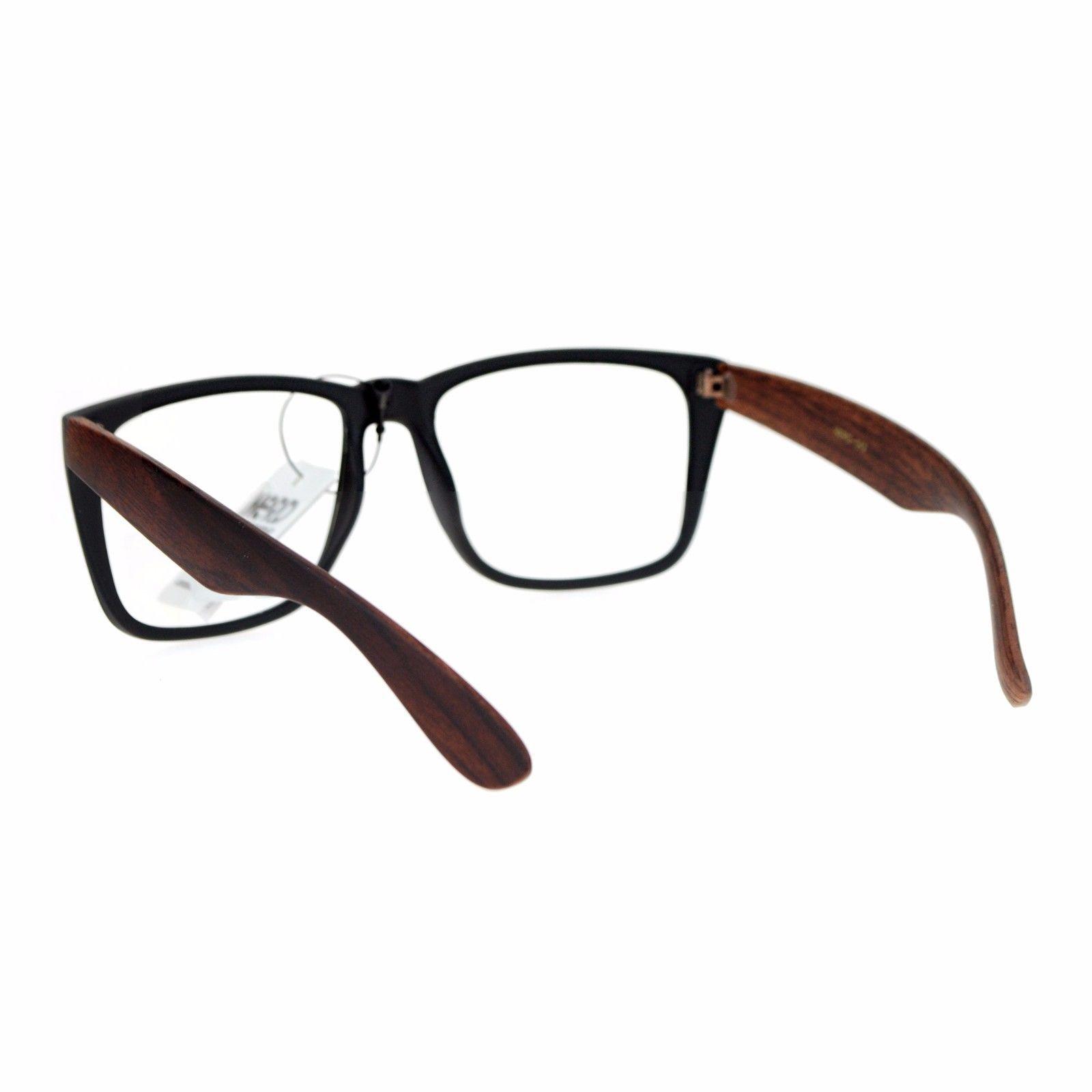 Clear Lens Glasses Square Soft Matted Wood Print Unisex Eyeglasses UV 400