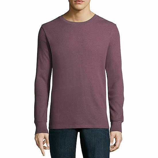 NWT arizona crew neck long sleeve thermal top plum NEW! SIZE medium