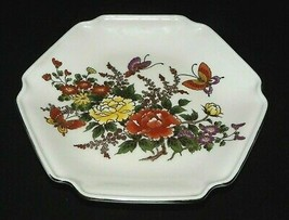 Otagiri Hexagon Plate with Flowers and Butterflies With Gold Trim Made i... - $19.99