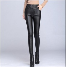 Black Stretch Faux Leather High Waisted Button Up Skinny Pencil Trousers