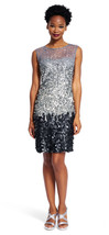 Adrianna Papell New Womens Sterling Fully Beaded Illusion Cocktail Dress 10 - $226.71