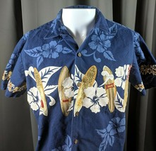 Vtg Small RJC Aloha Hawaiian Shirt Surboards Hibiscus Flower Made in Haw... - $19.99
