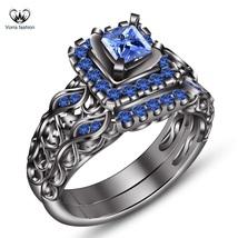 Blue Sapphire 14k Black Gold Finish Pure 925 Silver Engagement Bridal Ri... - $107.84