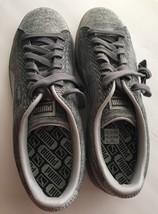 Puma Basket Silver Knit Metallic Sneakers Men's Size 11 M Rubber Sole New Shine - $39.37