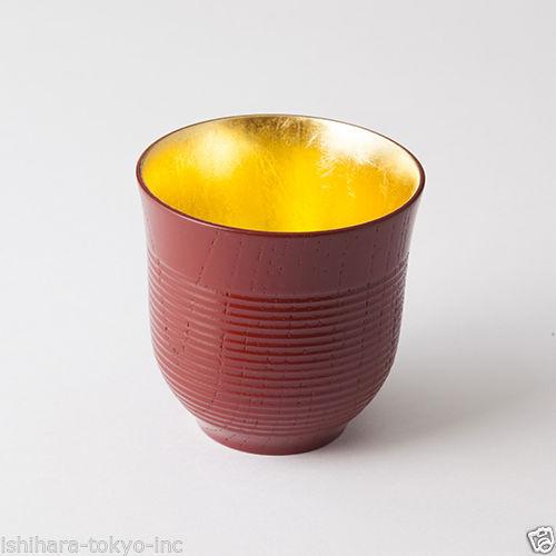 Oshima : Meoto Chawan - Yunomi Tea Cup - 2 color - Inner; Gold - JP Lacquer ware