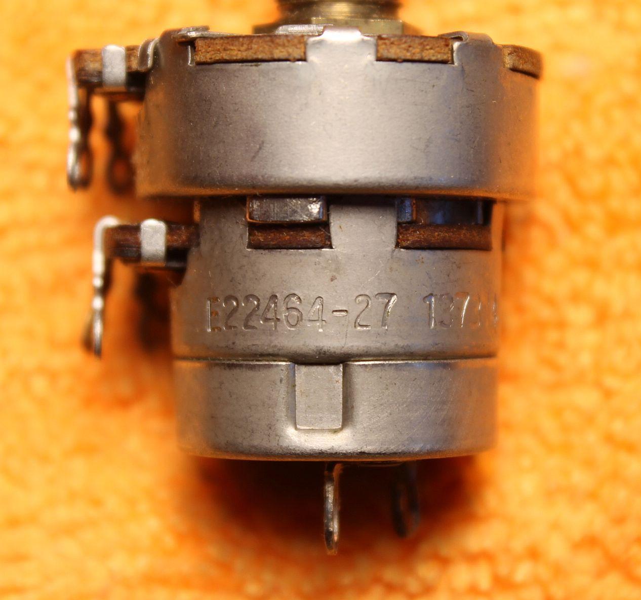 Vintage Potentiometer (one): Dual, Front: 1.58K-ohm; Rear: 270K-ohm & SW - NOS