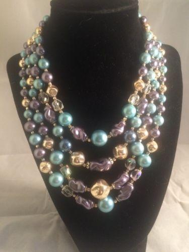 Vintage Japan 4 Strand Glass Bead Faux Pearl Necklace Blue Purple Adjustable