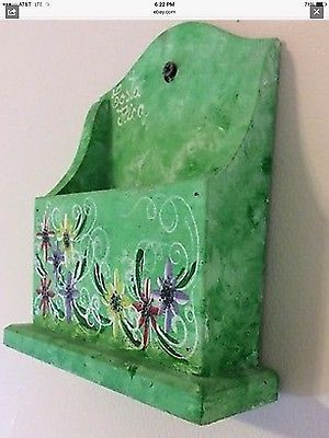 Souvenir from Costa Rica Wall or Tabletop Wood Letter Holder Hand Painted