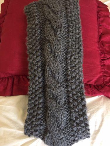 Handmade Women's Crocheted Medium Grey Scarfw/Braided Middle NEW Acrylic Soft