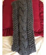 Handmade Women's Crocheted Medium Grey Scarfw/Braided Middle NEW Acrylic... - $22.76