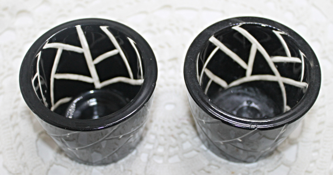 Black Cut Glass Votive Candle Holders