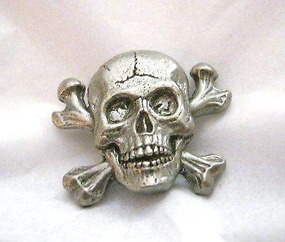 "CJ Cracked skull figural pewter pendant charm concho 1.25"" x 1.5"" set of 2"