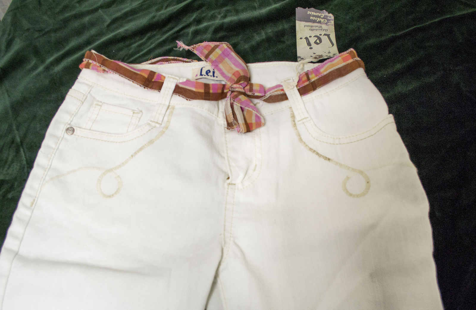 Free Ship Lot of 2 Firls LEI Denim Shorts and White Summer Jeans