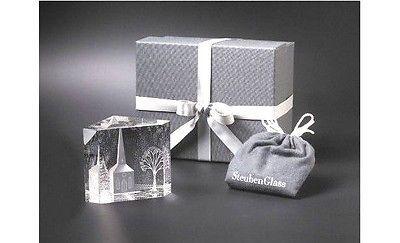 Steuben Glass WINTER CHURCH Rare Eric Hilton Design, New in Box Crystal Prism