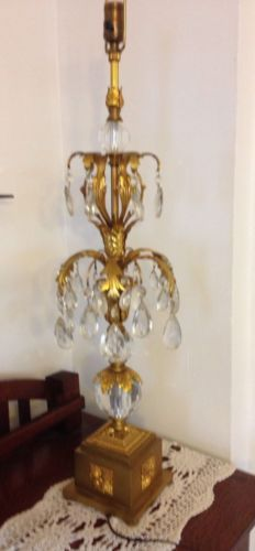 Vintage brass and glass Table lamp with 48 cut glass  prizms