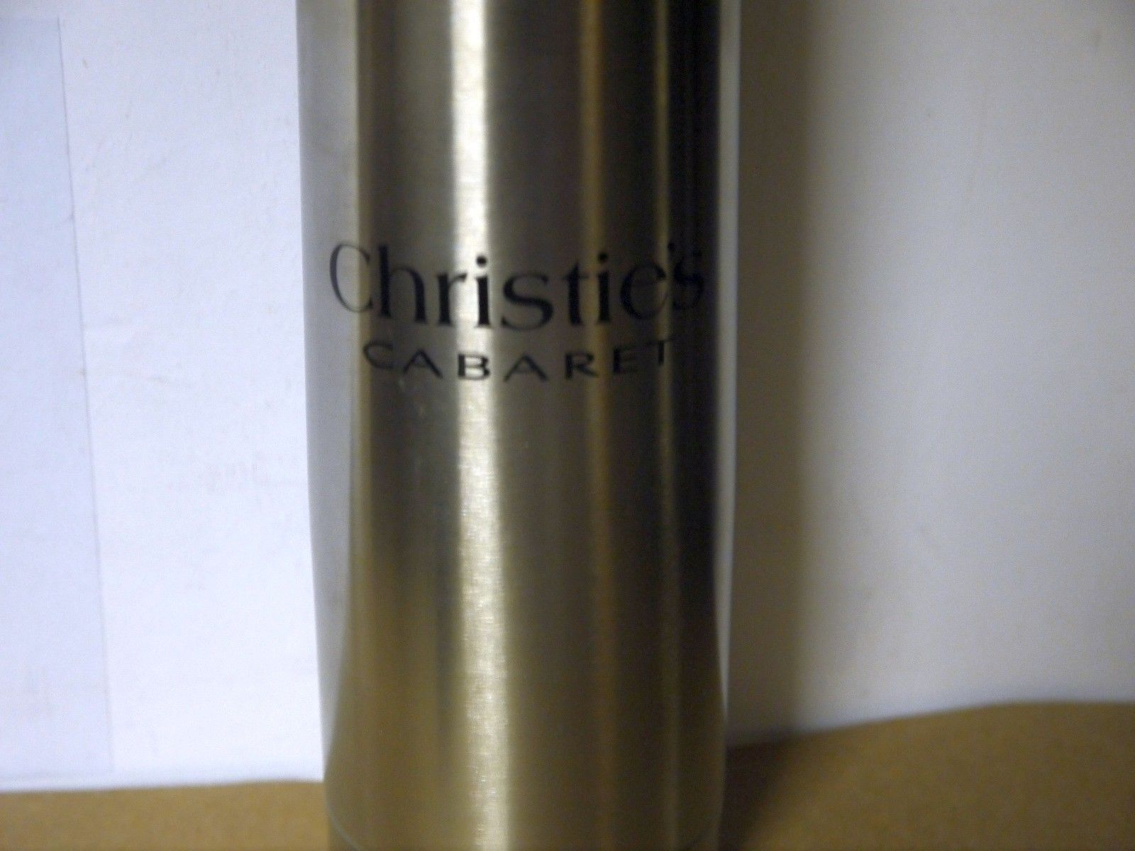 """Stainless Steel 10"""" Drink Thermos """"Christie's Cabaret""""  w/Zippered Carrying Case"""
