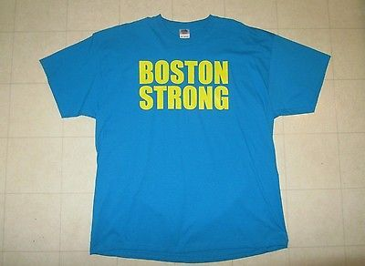 """T-Shirt, """"Boston Strong,"""" Teal with Yellow Emblem, 2XL"""