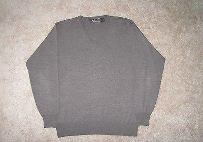 Neiman Marcus, Women's V-Neck Long Sleeve Sweater, Brown, L