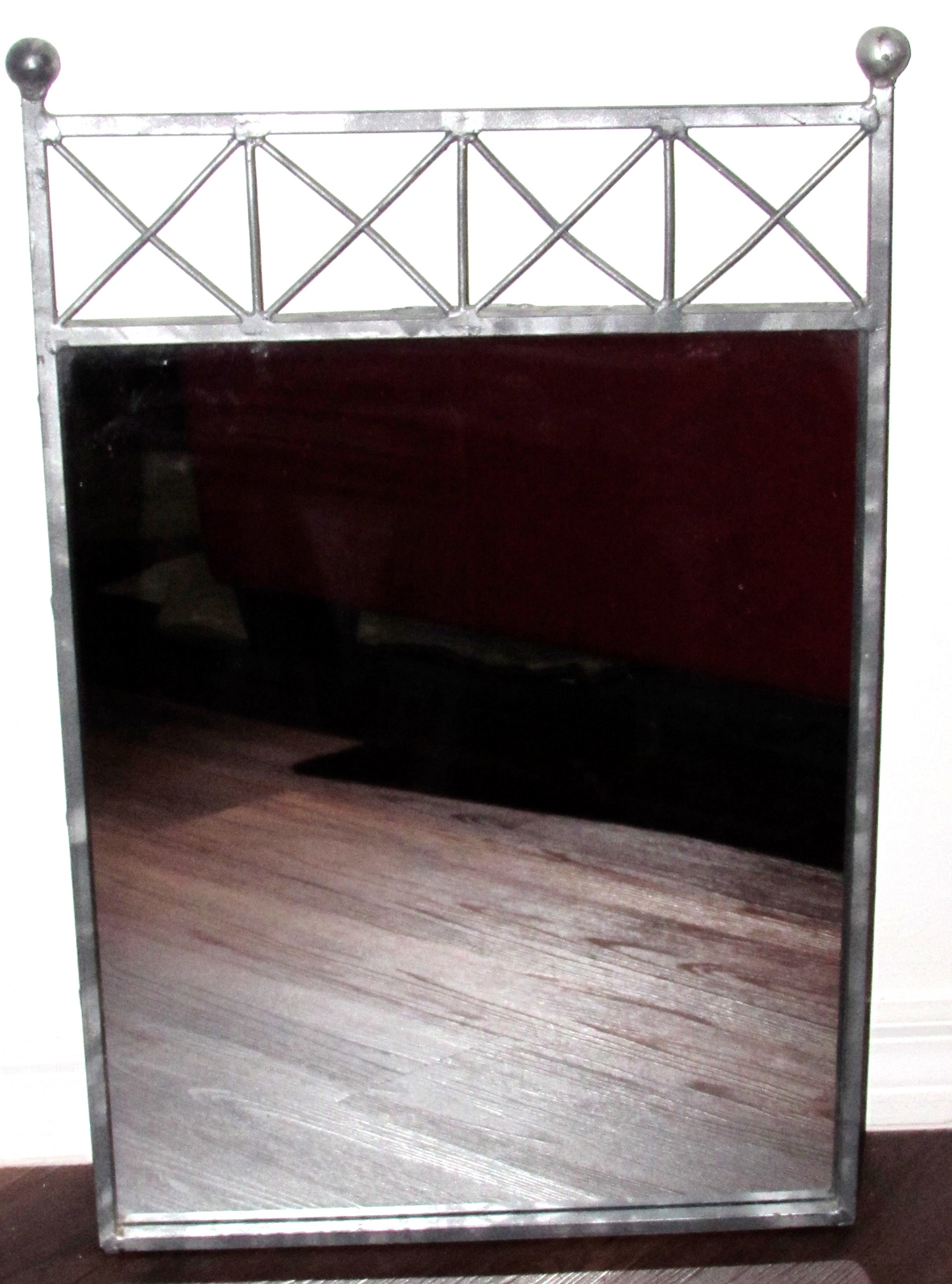 Metal/Wrought Iron Framed Decorative Mirror Square - Antique Silver Finish