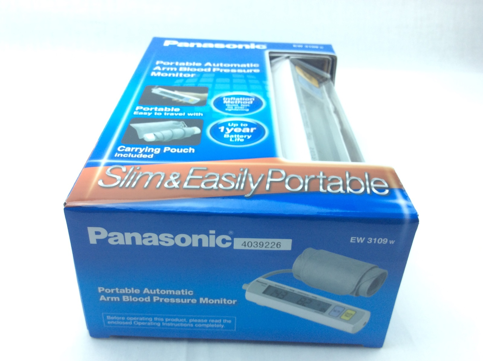 Panasonic EW3109W Portable Upper Arm Blood Pressure Monitor White/Grey