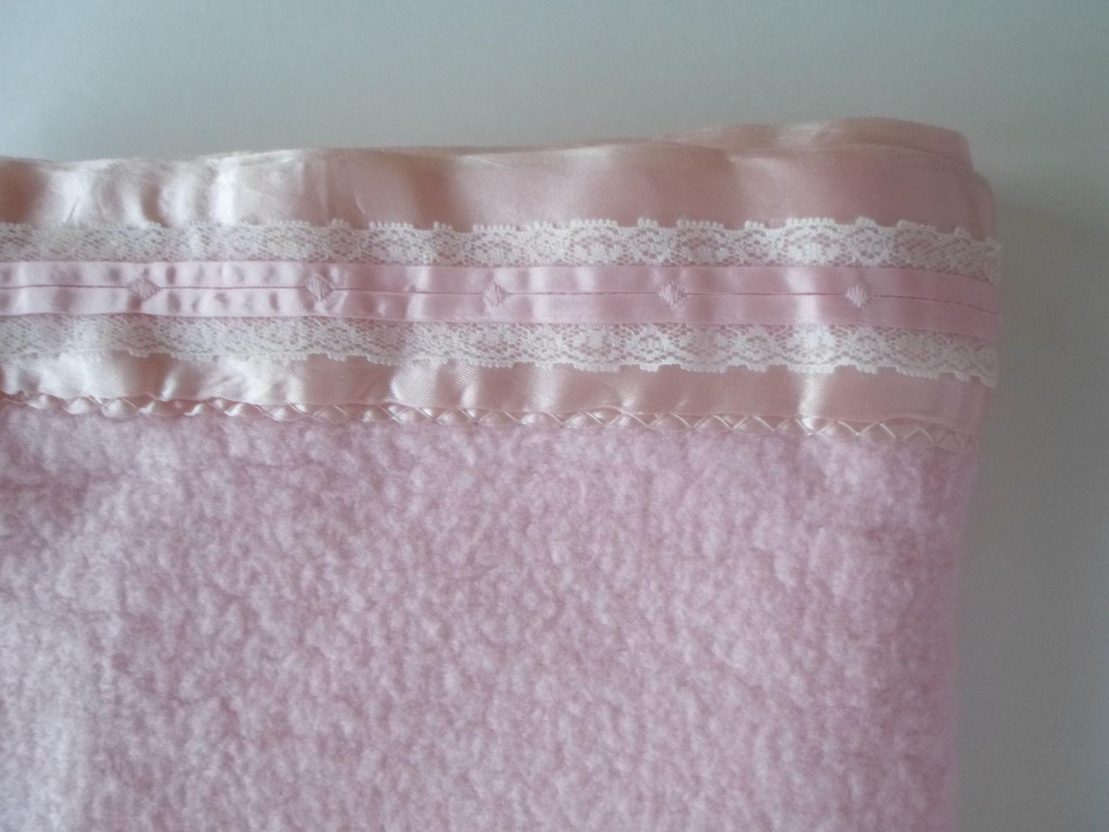 "Blanket Vintage BABY Pink Acrylic Nylon Satin Lace Trim 36"" Wide X 50"" Long"