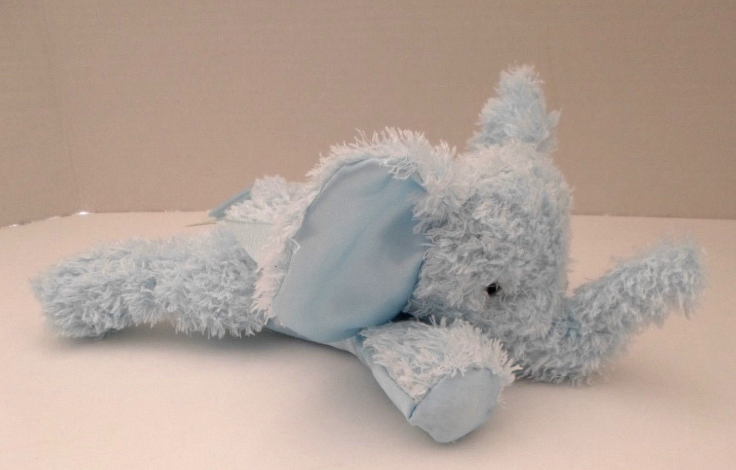 Plush Bearington Baby Light Blue Satin Elephant Stuffed Animal Rattle 10""