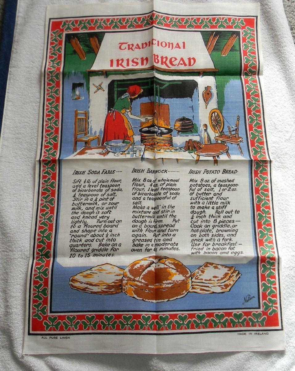 VINTAGE LINEN KITCHEN TOWEL TRADITIONAL IRISH BREAD RECIPES SODA FARLS BANNOCK
