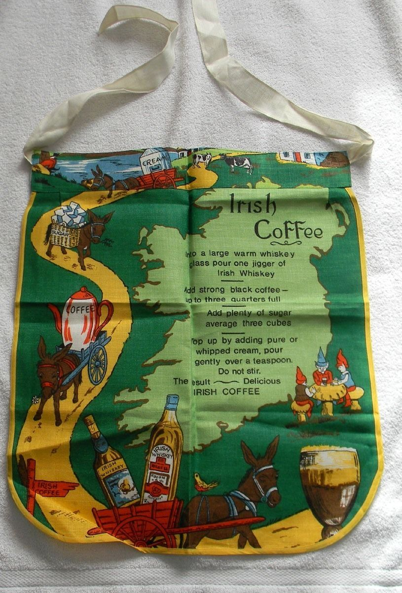 VINTAGE LINEN KITCHEN APRON DELICIOUS IRISH COFFEE RECIPE COLORFUL