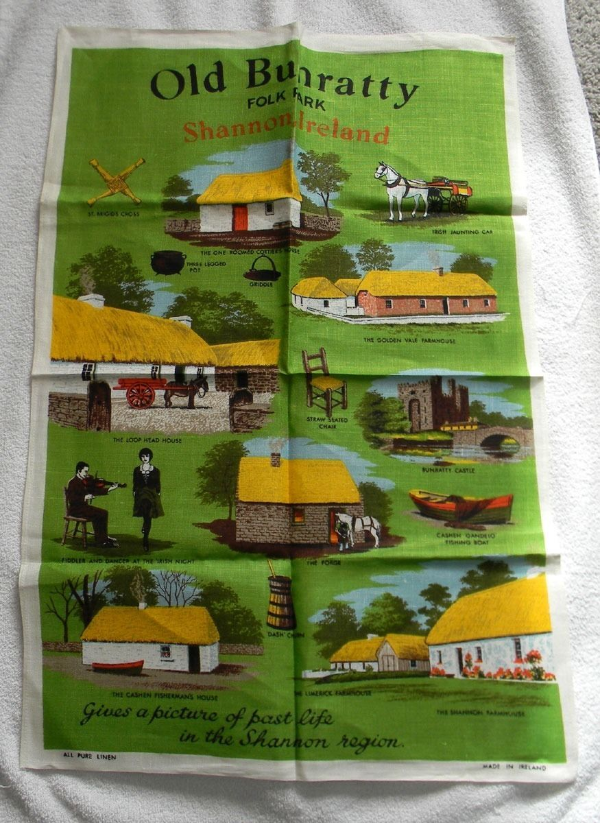 VINTAGE LINEN KITCHEN TOWEL OLD BUNRATTY FOLK PARK SHANNON IRELAND