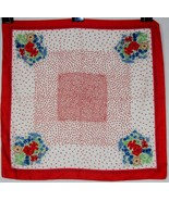 """Vintage Polyester Scarf ~ Red & White Floral Patterns ~ 27"""" x 27"""" ~ #611... - $19.55"""