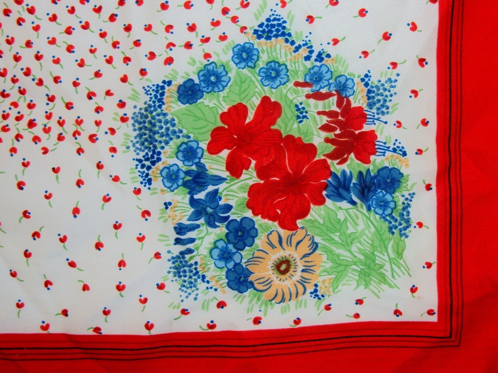 """Vintage Polyester Scarf ~ Red & White Floral Patterns ~ 27"""" x 27"""" ~ #6110090"""