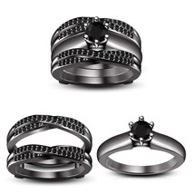 New Superb Wrap Bridal Engagement Ring Set With Rd Sim.Diamond & Free Shipping - $167.20