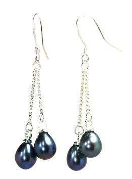 Sterling Silver Black Freshwater Oval Pearl Double Dangles Earrings