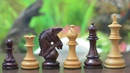 "Bridle Series Wooden Chess Pieces in Rose & Box Wood - 4.0"" King - SKU: M0056 - $194.99"