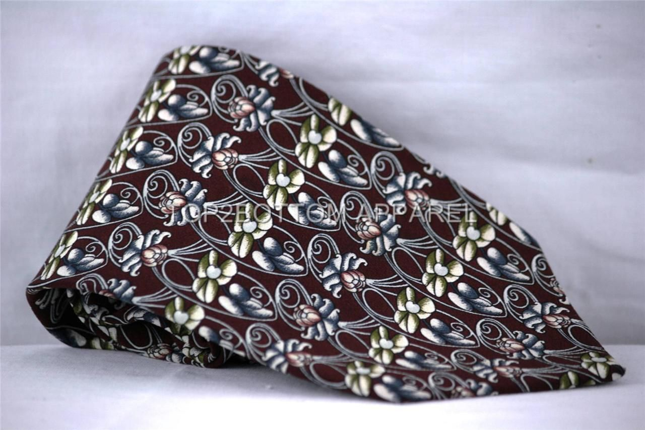 Alfani Brown Green White Pink Silver Floral Necktie 100% Silk Made In Italy NWOT