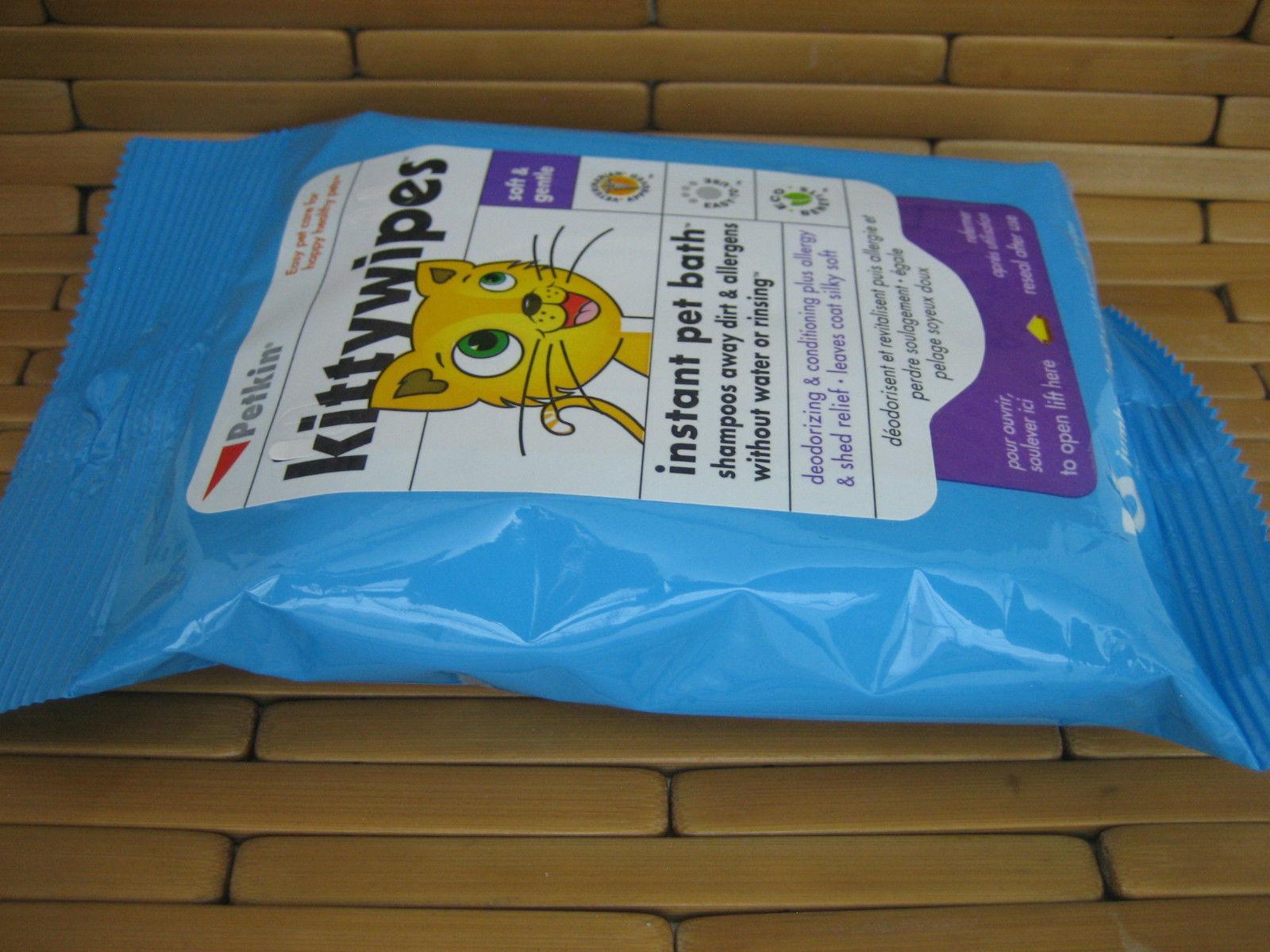 PETKIN KITTYWIPES KITTY WIPES PREWET MOISTENED SOFT GENTLE SHAMPOO NO WATER