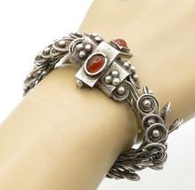 925 Sterling Silver - Vintage Carnelian Victorian Spiral Chain Bracelet ... - $168.39