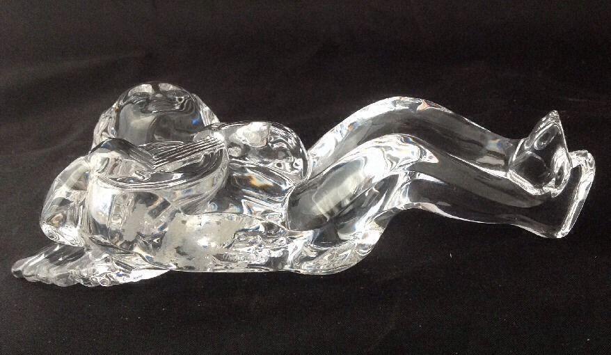Waterford Crystal Cherub Angel Reclining w Lute No Box