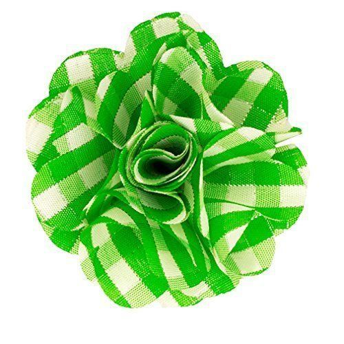 Men's Lime Green Plaid Polyester Flower Lapel pin 96-lime-plaid