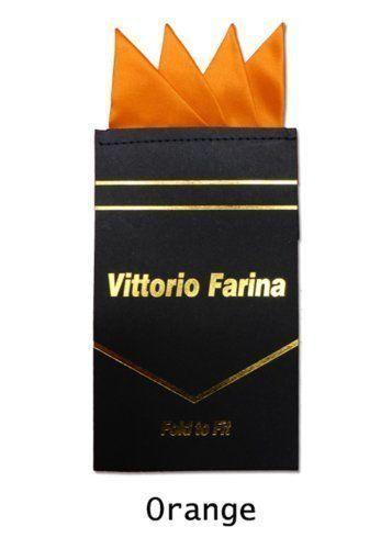 Men's Solid Pre Folded Silk Pocket Square Hanky on Card Orange