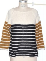 NEW FOREVER 21 WOOL BLEND OLIVE BLACK CREAM STRIPE 3/4 SLEEVE BOATNECK S... - $19.69