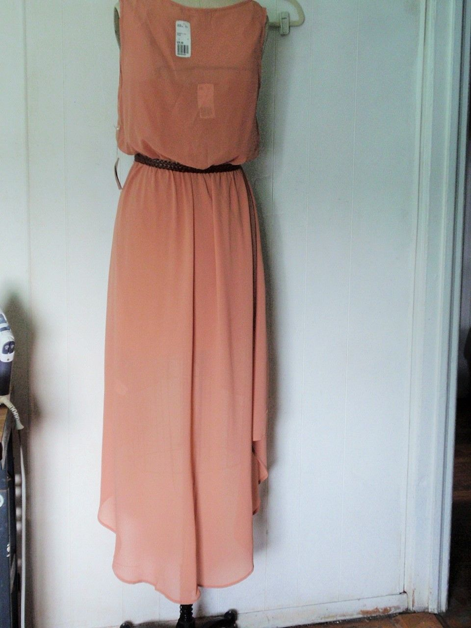 NEW FOREVER 21 POLYESTER CREPE TERRACOTA HI-LO FAUX WRAP TULIP CASUAL DRESS L