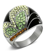 Stainless Steel Multi Color Crystal Butterfly Ring, High Polish, Size 5 ... - $22.99