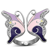 Stainless Steel Clear Crystal Butterfly Cocktail Fashion  Ring, Size  5 ... - $24.99