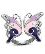 Stainless Steel Clear Crystal Butterfly Cocktail Fashion  Ring, Size  5 - 10 - $24.99