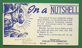 1940s INK BLOTTER AD - Paramount Collector-Hobbyist Magazine Denver Colo... - $4.49