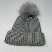 Topshop Womens Gray Classic Knit Lightweight Pom Pom Beanie Hat One Size - $13.85
