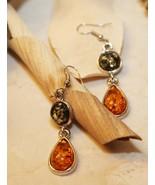 Elise Green and Honey Amber Teardrop Earrings   - $28.00