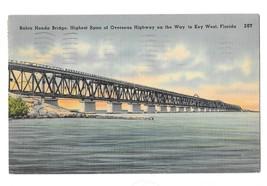 FL Bahia Honda Bridge Overseas Highway Key West Vintage Tichnor Linen Po... - $4.74